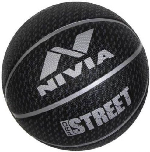 Nivia Pro Street Basketball - Size: 7 (Pack of 1, Silver, Black)
