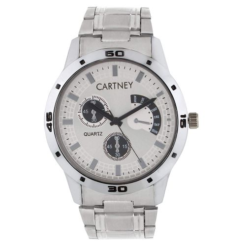 Cartney Analogue Round White Dial Watch for Men (RW4)