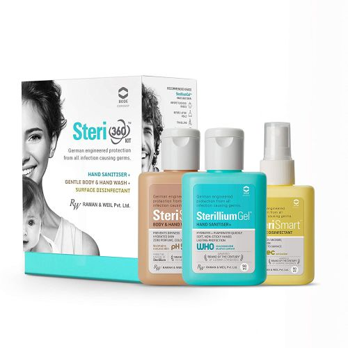 Steri 360 kit –Hand Sanitizer,Surface Disinfectant and Body & Hand wash- 50ml each