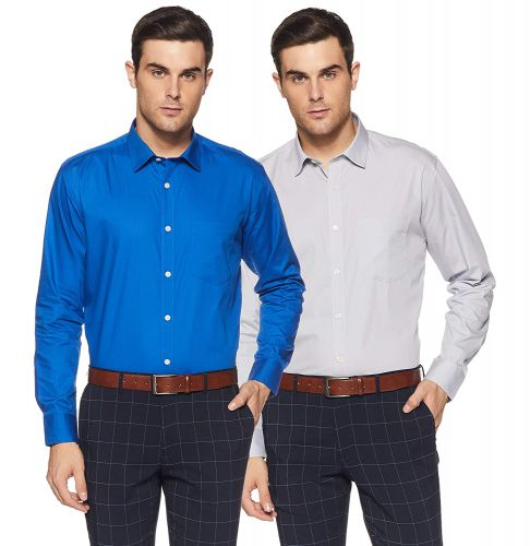 Amazon Brand - Symbol Men's Cotton Formal Shirt (Combo Pack of 2)