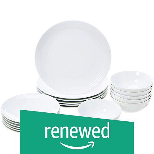 (Renewed) AmazonBasics 18-Piece Dinnerware Set - White Embossed Porcelain