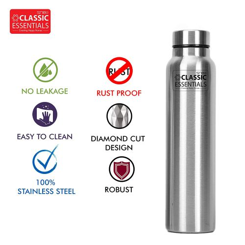 Classic Essentials Spring Stainless Steel Single Walled Fridge Water Bottle (1000ml)
