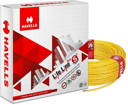 Havells Life Line Plus S3 1 sq mm PVC HRFR Cable (Yellow)