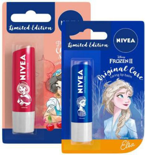 Nivea Lip Balm, Disney Limited Edition Cherry Shine, 4.8g & Lip Balm, Disney Limited Edition Original Care, 4.8g (Pack of 2)