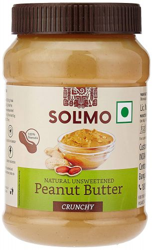 Amazon Brand - Solimo Natural Unsweetened Peanut Butter, 1 kg