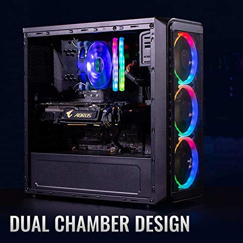 Electrobot Gaming Tower PC - Intel i5 9400F, Nvidia RTX 2060 6GB, 16GB RAM, 1TB HDD, 240GB SSD with 3 RGB Cooling Fans with Controller