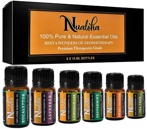 Nualoha Top 6 Aromatherapy Essential Oils Gift Set-100% Pure Natural Oil Pack (6x10ML) For Diffuser, Skin, Hair & Body Care