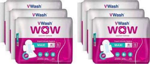 VWash Wow Maxi Regular Wings Sanitary Pad (Pack of 30)