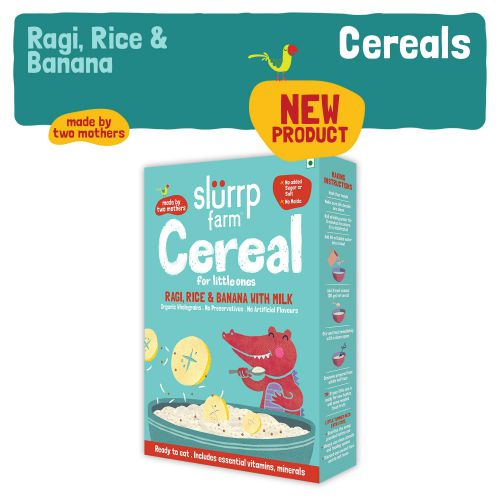 Slurrp Farm Organic Baby Cereal, Ragi, Rice and Banana with Milk, Instant Healthy Wholesome Food for Babies, 200g