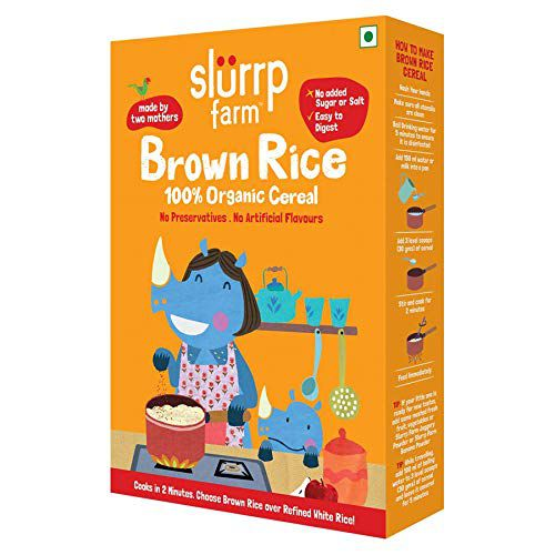 Slurrp Farm Organic Cereal | Brown Rice | Instant Healthy Wholesome Food for Babies, 250 g