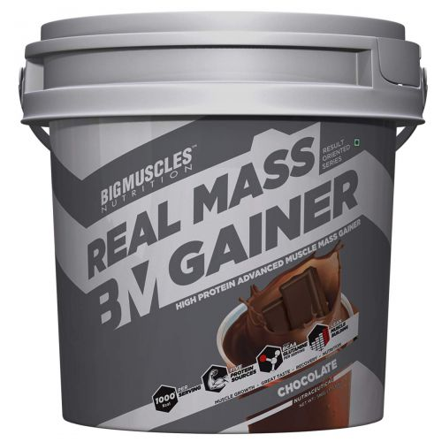 Bigmuscles Nutrition Real Mass Gainer [5 Kg, Chocolate], Lean Whey Protein Muscle Mass Gainer, Complex Carbohydrates, 1000 Calories
