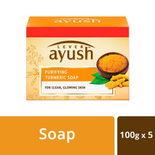 Lever Ayush Purifying Turmeric Soap, 100 g each (Buy 4 Get 1)