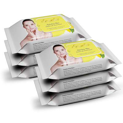 Senseller Refreshing Facial Wet Wipes, Enriched with Lemon Extract- 30 Wipes (Pack of 4)