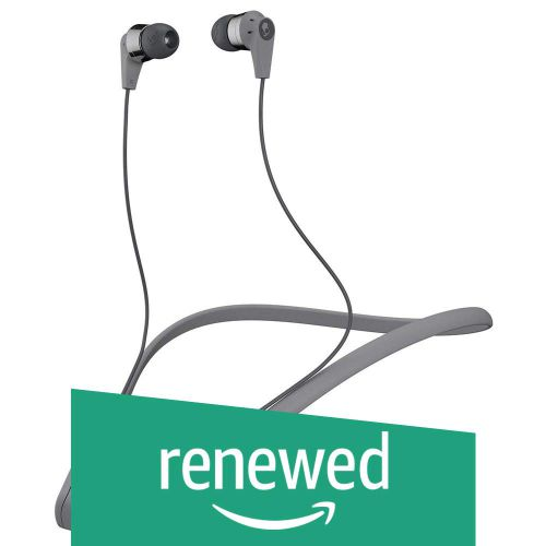(Renewed) Skullcandy Ink'd Bluetooth Wireless in-Ear Earbuds with Mic (Street Gray/Chrome)