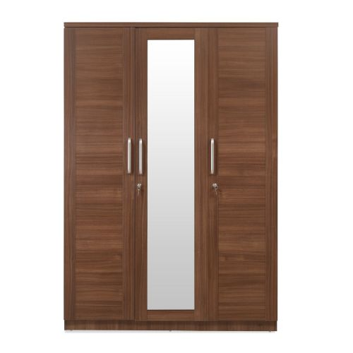 @home by Nilkamal 3-Door Wardrobe with Mirror (Matte Paper Finish, Brown)