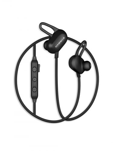 Hammer Spark Bluetooth Wireless Earphone Sweat Resistant, Dual pairing with Mic (Black)