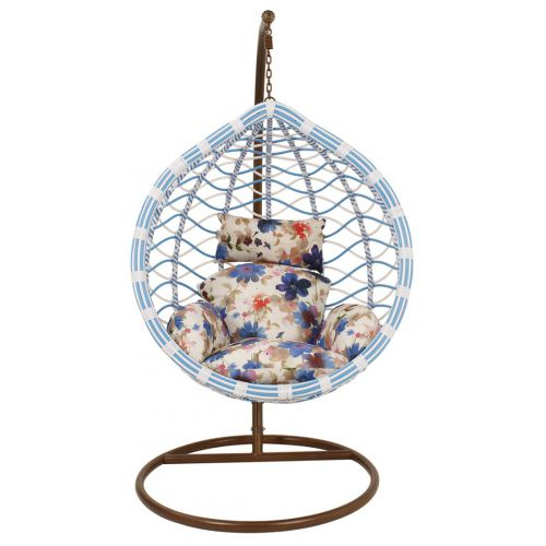 Woodness Calabah Single Seater Swing with Cushions (Blue and White)