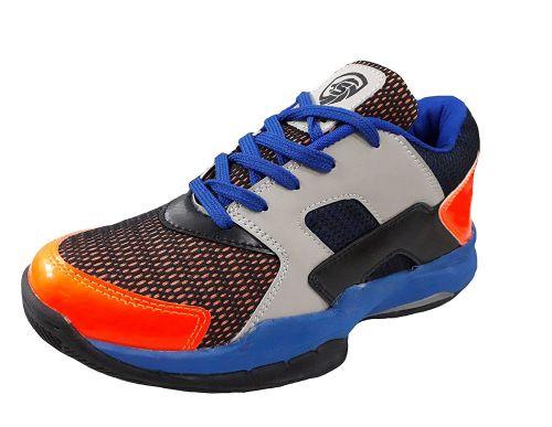 Port Unisex Adult Badminton Shoes-11 UK (45 EU) (12 US) (LB-ORG-Blue)