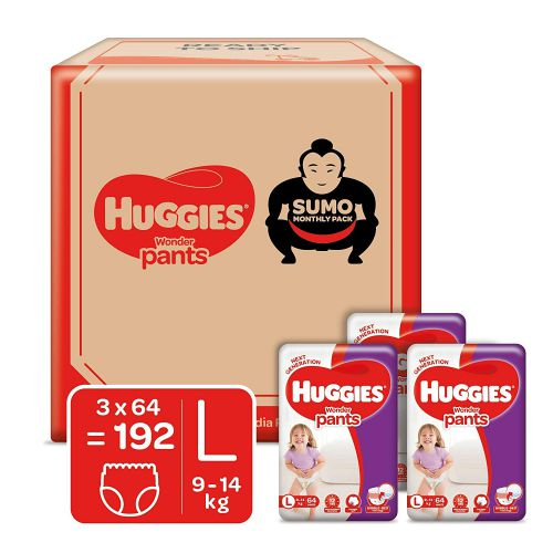 Huggies Wonder Pants, Diapers Sumo Monthly Box Pack, Large Size   192 Pcs