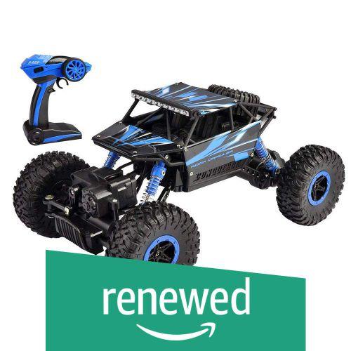 (Renewed) Popsugar Rock Crawler 1: 18 2.4GHz Remote Control Car 4WD Off Road RC Monster Truck Blue