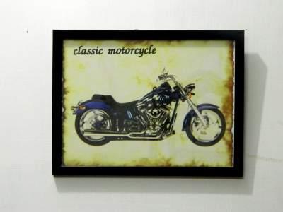 tu casa Burnout Effect Wall Hanging Vintage Bike Poster (Paper, 29.2 cm x 0.63 cm x 22.22 cm, Dark Brown, TUD-2360)
