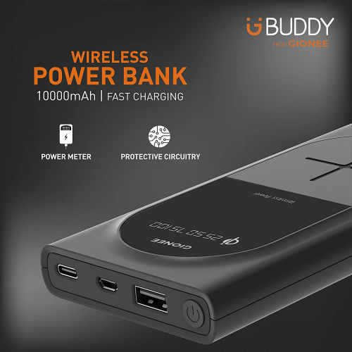 Gionee 10000mAh Li-Polymer Wireless Charging Power Bank with USB Port & Power Meter(Fast Charging, 12W) PB10K1WL
