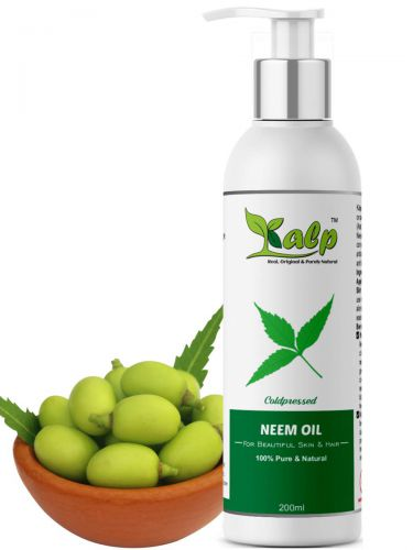 Kalp Neem Oil -Pure Cold Pressed Unrefined, Natural & Undiluted For Skincare, Hair Care & Natural Bug Repellent (200 Ml)