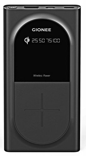 Gionee 10000mAh Li-Polymer Wireless Charging Power Bank with USB Port and Power Meter(Fast Charging, 12W) PB10K1WL (Black)