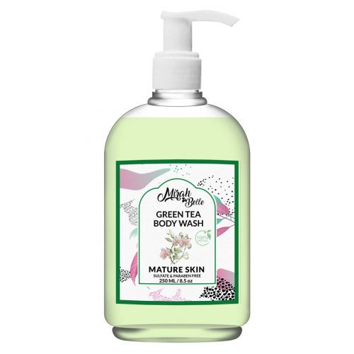 Mirah Belle - Green Tea, Orchid - Mature Skin Body Wash - Anti - Aging, Sagging, Elderly Skin - Best for Men and Women - Sulfate and Paraben Free - 250 ml