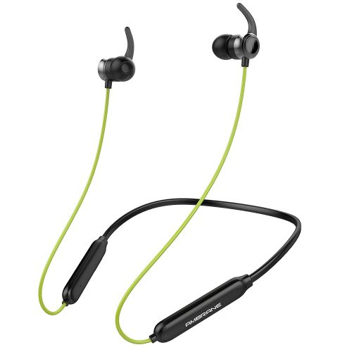 Ambrane Bluetooth Wireless Earphones with High Bass Stereo Sound, 10 Hours Playtime, Water Splash Proof, inbuilt Mic (ANB-33, Black & Neon)