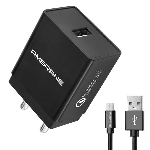 Ambrane AQC-56 3A Qualcomm Quick Charge 3.0 Mobile Charger + Free Micro USB Cable