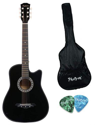 Photron Acoustic Guitar, 38 Inch Cutaway, PH38CK/BK with Bag & Picks, Black
