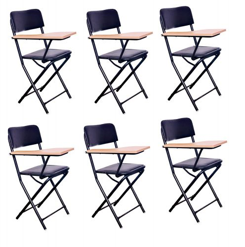 MBTC Ambient Folding Study Training Institution Writing Pad Folding Chair in Black (Set of 6)