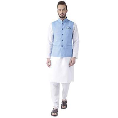 hangup Men's Synthetic Kurta Pyjama with Waist Coat