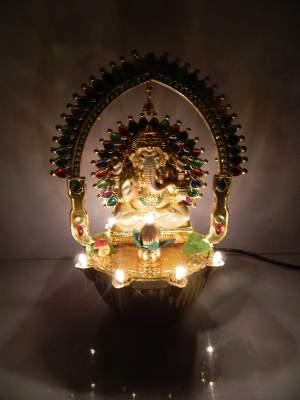 Tucasa DW-264 Ganesha Chakra Revolving Diya (Golden)