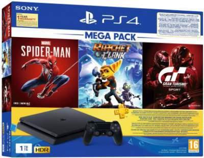 Sony PS4 Slim 1000 GB with Spider Man, Ratchet & Clank, Gran Turismo  (Black)