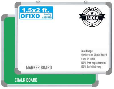 OFIXO Non Magnetic 1.5x2 Feet Double Sided White Board and Chalk Board