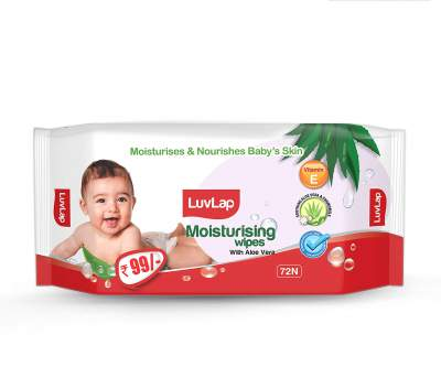 LuvLap Paraben Free Baby Wipes with Aloe Vera (72 Wipes/Pack)