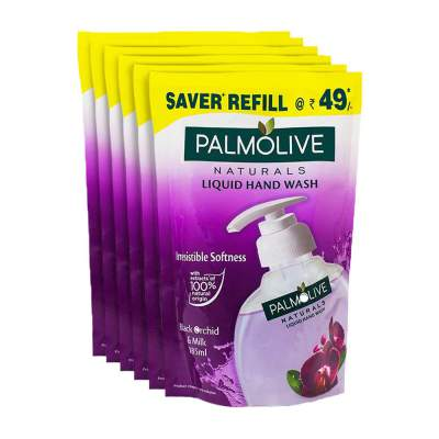 Palmolive Naturals Black Orchid and Milk Handwash Refill - 185 ml (Pack of 6)