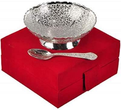 Ayurveda Copper German Silver Single Bowl with Royal Velvet Box -2 Pieces Set