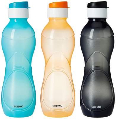 Amazon Brand - Solimo Plastic Water Bottle Set with Flip cap (Set of 3, 975ml, Multicolor)