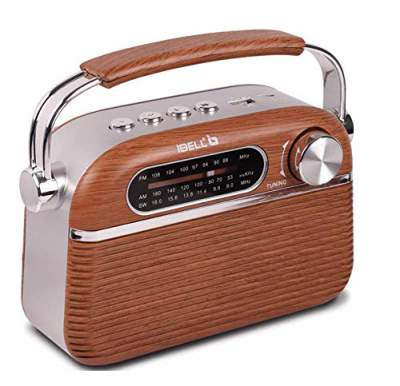 iBELL FM700BT Portable FM Radio with Bluetooth Speaker, USBSDMP3 Player & Dynamic Speaker 3 Band,Brown