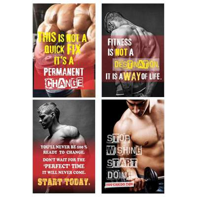PRINTELLIGENT Big Size Gym Paper Posters Set of 10...