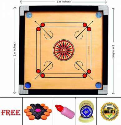 Hotspot 20 Inch Carrom Board with & Striker and Po...