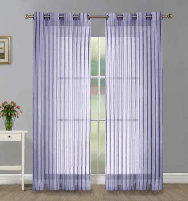 Home Candy Net Stripes 4 Piece Polyester Door Curtain Set - 7ft, Purple...