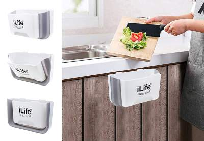 iLife Collapsible Garbage Bin, Portable Waste Container for car, Mini Foldable Hanging Trash Can Best for Kitchen Bathroom Bedroom Office car White Horizontal...