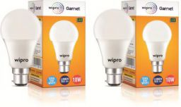 Wipro 10 W Standard B22 LED Bulb (White, Pack of 2)