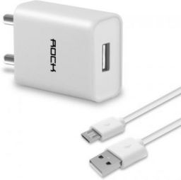 Rock ITG121 2.1 Amp Single Port Travel Mobile Charger  (White, Cable Included)