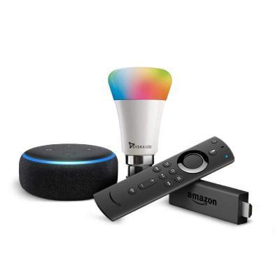 Echo Dot (Black) and Fire TV Stick Bundle with Syska 9W smart color bulb