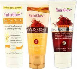 NutriGlow Gold Kesar Cleanser (65 ml), De Tan Scrub (65 g) and Skin Radian Day Crème (50 g)